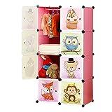 BRIAN & DANY Armadio Modulare Bambini, Portatile Guardaroba, Armadietto in Moduli Plastici, 8 Cubo, Rosa, 75 x 47 x 147 cm