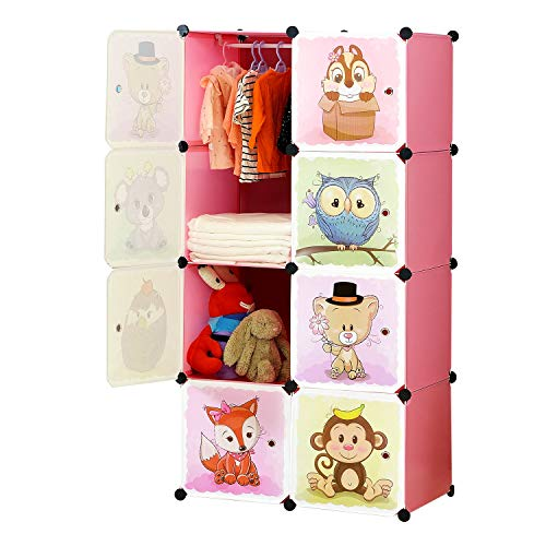 BRIAN & DANY Portable Cartoon Clothes Closet Wardrobe DIY Modular Storage Organizer, Sturdy and Safe for Children, 6 Cubes & 1 Hanging Sections, Pink, 75 x 47 x 147 cm