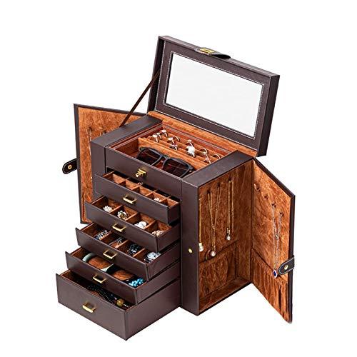 YQCH Jewelry Box Girls Completamente Bloqueo Organizador para el Collar Pendientes Anillo Gran elección de Regalos (Color : Brown)