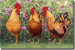 Roosters Ceramic Tile Mural Backsplash 18