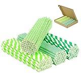 PATAZOK Cannucce di Carta,200 Pezzi Cannucce di Carta Biodegradabili Verde Cannucce di Carta per Feste Bevande Monouso Conveniente Festa di Compleanno