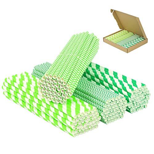 PATAZOK 200pcs Papierstrohhalme Grün Strohhalme Papier Trinkhalme Einweg Papierhalme Halme Dino Party Deko Biologisch Abbaubare Halme für Geburtstag