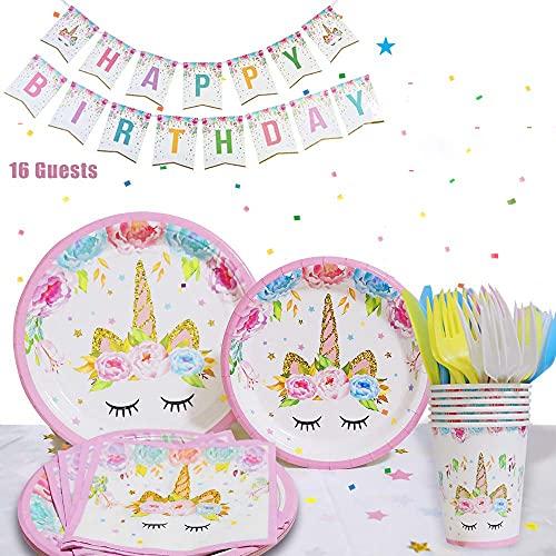 Piatti da festa con unicorno, 16 ospiti, bicchieri usa e getta, tovaglioli, striscione di compleanno e altro ancora