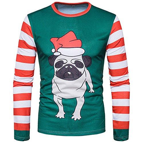 Big Save! ZIAxiav Mens Ugly Christmas T-Shirt, Bulldog Puppy Crewneck Long Sleeve Striped Top Blouse...