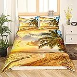 Beach Bedding Ocean Bettbezug Twin Sunset Hawaiian Palm Tree Waves Tröster Bezug Tropical Island and Sea Beach Nature Theme Print Bettwäsche, Blau, Reißverschluss