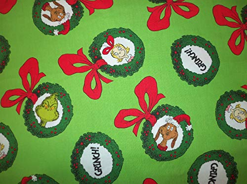 How The Grinch Stole Christmas Fabric Green Wreaths Sold by Fat Quarter (18' X 22') New BTFQ
