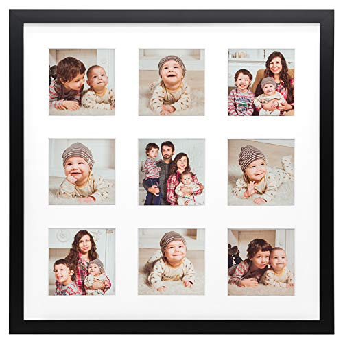 Golden State Art, Smartphone Instagram Frame Collection, 16x16-inch Square Photo Wood Frames for 9 4x4-inch Pictures with Real Glass, Black
