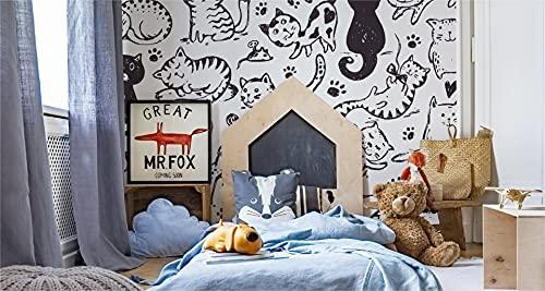 Muralo Papel pintado fotográfico autoadhesivo 300 x 210 cm, diseño de gatitos en blanco y negro