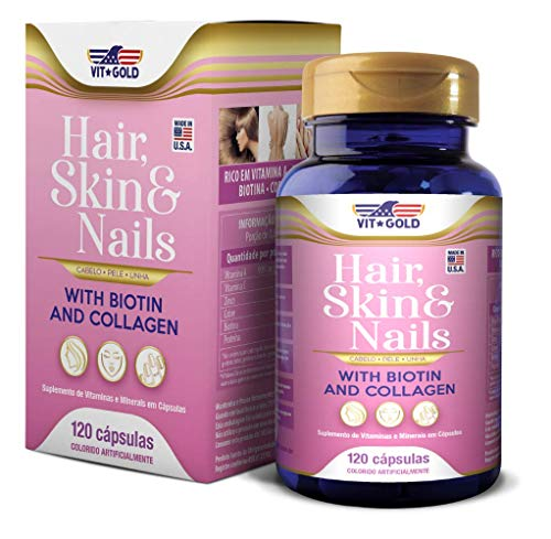 Hair Skin & Nails (Cabelo, pele e unhas) Vitgold 120 cápsulas