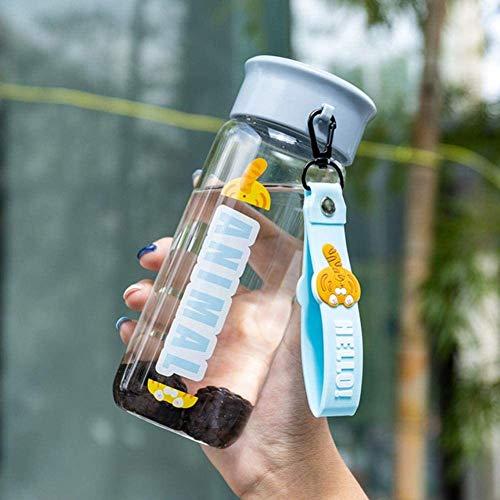 Botellas de agua botella de agua deportes agua taza de agua linda transparente vidrio portátil portátil agua taza de agua calorresistante senderismo al aire libre ( Color : Tiger , Size : 0.4L )