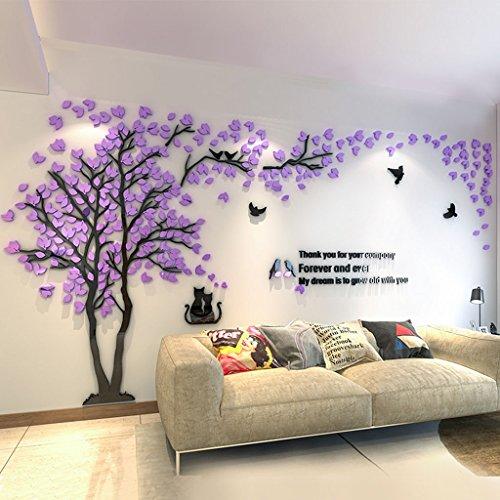 Stickers muraux DWW Plantes Arbres 3D Acrylique Salon TV décorations murales ne Tombent Pas Durable (Couleur : Violet, Taille : XL)