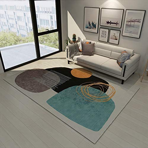SunYe Nordic Geometric Pattern Living Room Carpet Double Thick Office Floor Mats Bedroom Bedside Mats Non-Slip Door Mats, Pet Carpets