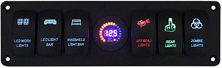 Niome 6 Gang Rocker Switch Panel Circuit Breaker with LED Voltmeter for RV Car Marine Boat