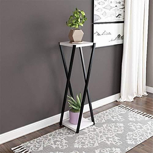 Flower stand LF, support de pot de fleurs, support de présentation de jardin, 2 étages, support de plantes d'intérieur solide et robuste (couleur : blanc, taille : 25 x 25 x 100 cm)