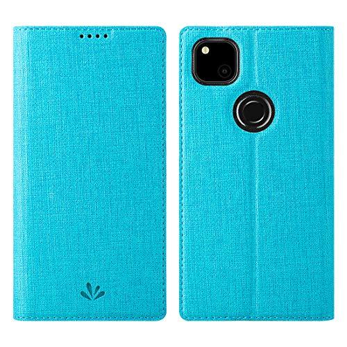 Google Pixel 4a Hülle, PU Leder Tasche Hülle mit [Ständer] [Kartenhalter] [TPU Bumper] Stoßfest Flip Cover Handyhülle, Blau