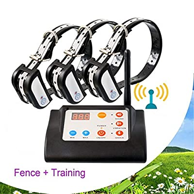 Dog Fence Wireless & Training Collar Outdoor 2 in1, Electric Wireless Fence for Dogs with Remote, Adjustable Range Control & Display Distance, Waterproof Reflective Stripe Collar for All Dogs,for3dogs