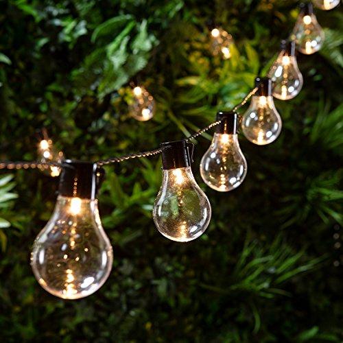 Lights4fun - Catena Luminosa di 20 Lampadine con LED Bianco Caldo a Pile per Interni ed Esterni