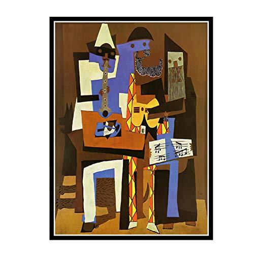 Swarouskll Pablo Picasso 《DREI Musiker》 Leinwandmalerei Kunstplakate Drucken für Wohnwand Wohnzimmer Dekor -50X70cm Kein Rahmen 1 PCS