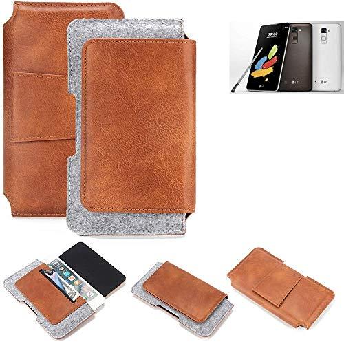 K-S-Trade® Schutz Hülle Für LG Stylus 2 DAB+ Gürteltasche Gürtel Tasche Schutzhülle Handy Smartphone Tasche Handyhülle PU + Filz, Braun (1x)