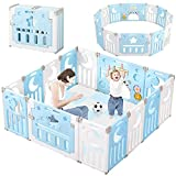 Baby Playpen, Dripex Upgrade Foldable Kids Activity Centre Safety Play Yard Home Indoor Outdoor Baby Fence Play Pen NO Gaps with Gate for Baby Boys Girls Toddlers (14 Panel, Dream Blue + White)