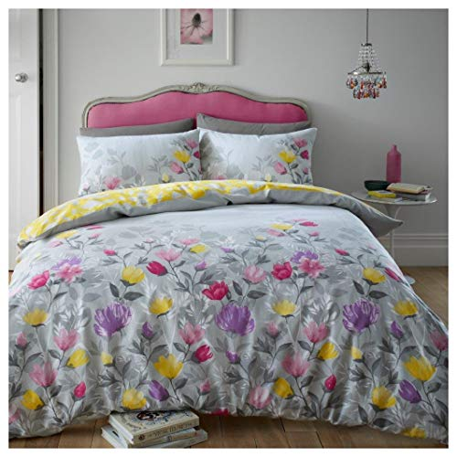 Hendem. Chloe Grey Flannelette Floral Duvet Quilt Cover Set Reversible Thermal Flannel 100% Brushed Cotton Purple Pink Yellow Bedding (Double)