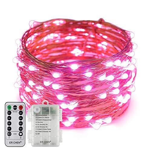 Erchen Batteriebetrieben LED Lichterkette, 33 FT 100 LED 10M dimmbare Kupfer Draht Lichterketten mit Fernbedienung 8 Modi Timer für Innen Außen Weihnachten Party (Rosa)