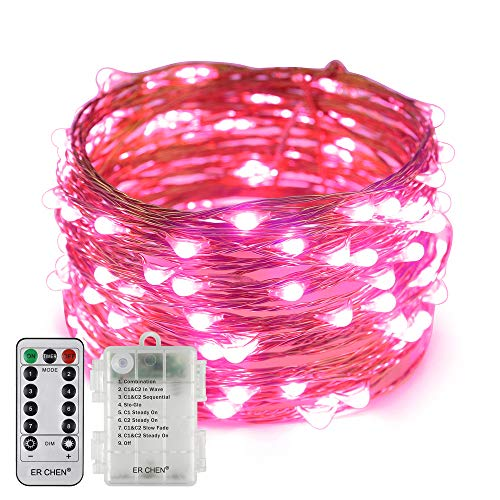 Erchen Battery Operated LED String Lights, Dimmable 33 FT 100 LED Ultra Thin Waterproof 8 Modes Timer Copper Wire Fairy Lights with 13 Key Remote Control for Indoor Outdoor Christmas Party (Pink)