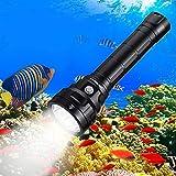 Wurkkos DL40 Linterna de Buceo, Linterna de buceo con 5000 lúmenes. Resistencia al agua IPX8, 4 x Samsung LH351D(5000K) 90 Cri LEDs, Linterna de submarinismo con 2 x 26650 baterías y cargador