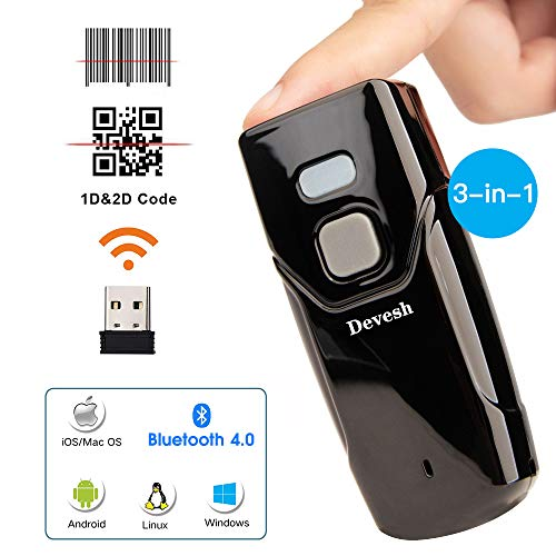 Bluetooth Wireless Barcode Scanner,Compatible with Bluetooth Function & 2.4GHz Wireless, Portable Barcode Reader Work with Windows, Mac,Android, iOS Phones, Tablets or Computers Bar Code Scanners