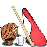 IDE Con Mixed 25' da Baseball Set per Bambini, Set da Baseball, Mazza di Legno, Ball & Guanto da Baseball, Terza BallLittle Lega Set Junior Baseball Kit Multicolore,Oakbat3