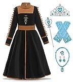 O.AMBW Frozen 2 Disfraz Cosplay Reina Anna Vestido Conjunto Completo con Accesorios Vestido de Princesa Ropa Infantil Disfraces Carnaval Fiesta de Halloween Cumpleaños para niñas de 2 a 10 años