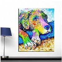油絵壁アートカラフルな犬の壁の写真リビングルームの動物のポスターキャンバス上のポスターとプリント-60x90cmx1フレームなし