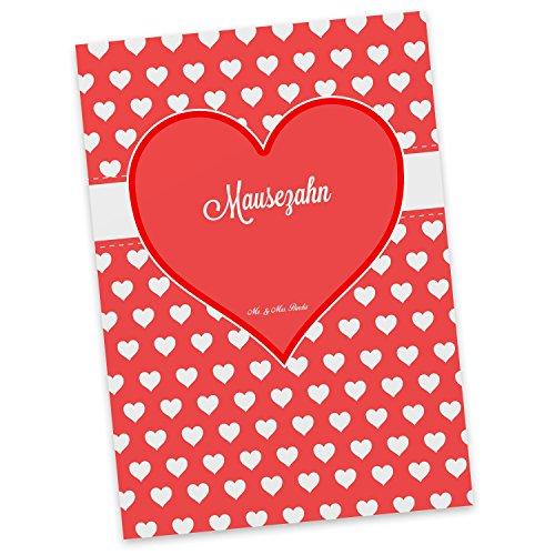 Mr. & Mrs. Panda Postkarte Mausezahn Herz Geschenk - 100% Handmade aus Karton 300 Gramm - Valentinstag Herz Liebe Verlie
