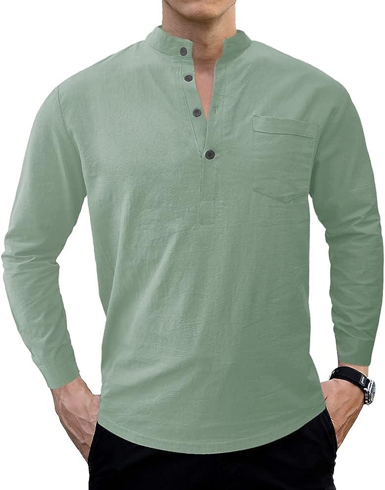 LOGEEYAR Men's Linen Shirts Long Sleeve Beach Henley Shirt Slim Fit Solid Cotton Tops
