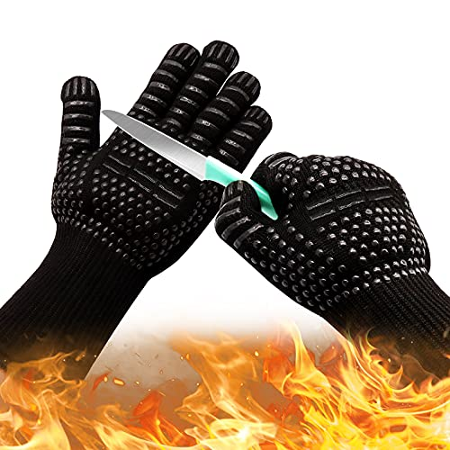 Oven Gloves 932°F Heat Resistant Gloves, XL Size Cut-Resistant Grill Gloves, Non-Slip Silicone BBQ Gloves, Kitchen Safe Cooking Gloves for Men, Oven Mitts,Smoker,Barbecue,Grilling (Black-XL)