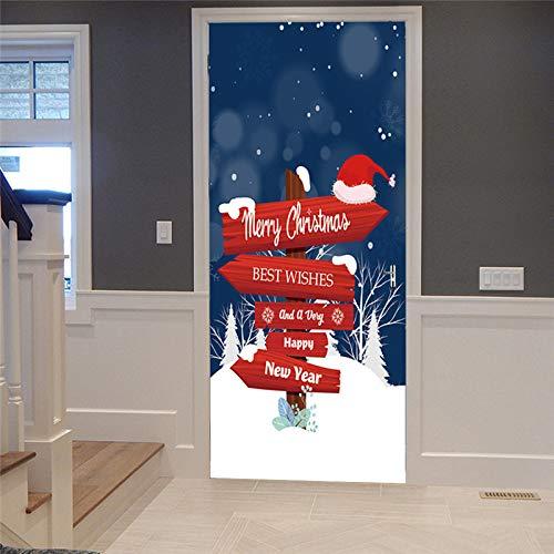 YIER LIFE™ 3D Türaufkleber für Innentüren Schneeszene Weihnachtsmütze roter Wegweiser Foto gedruckt Selbstklebende Wandbilder wasserdichte Tür Aufkleber Vinyl Tür Wandmalereien Tür Tapete fü 95X215CM
