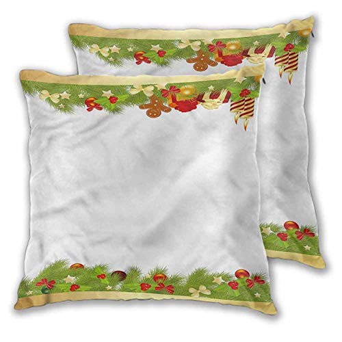 Xlcsomf Christmas Printed pillowcase, 22 x 22 Inch Spruce Joyous Objects for Sofa Bedroom Car Christmas decoration Set of 2