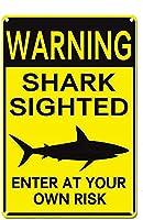 警告金属ブリキのサイン警告サメの目撃者あなた自身の責任で入力してくださいバークラブレストランカフェパブホームハンギングアートワークプラークウォールアート装飾サインアウトドアリビングファームヤードサイン8X12インチ メタルプレートブリキ 看板 2枚セットアンティークレトロ