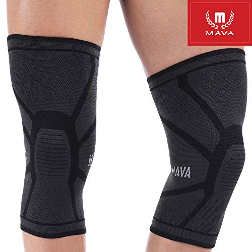 Mava Sports Knee Compression Sleeve Support for Men and Women. Perfect for Powerlifting, Weightlifting, Running, Gym Workout, Squats and Pain Relief (Black, XX-Large)