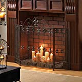 Black Fireplace Screen, Wrought Iron Fire Place Safety Panel, Spark Guard and Wood Burning Hearth Accessories for Baby