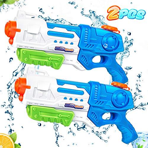 lenbest 2 Pack Pistola ad Acqua per Bambini, Pistola ad Acqua 900 ml, Set di Pistole ad Acqua da 32 Piedi a Lungo Raggio, Regalo Estivo, Giocattolo Blaster su Piscina, Spiaggia, Cortile e Feste