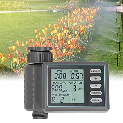 Eosnow Temporizador de riego, fácil de Desmontar y Limpiar Pantalla LCD Grande 4 programas de Control de Tiempo Temporizador de riego para Sistemas de riego Inteligentes