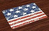 ABAKUHAUS Amerika Platzmatten, Viertel von Juli-Thema-Flagge von Vereinigten Staaten von Amerika mit Dreck-Effekt, Tiscjdeco aus Farbfesten Stoff für das Esszimmer & Küch, Weiß Blau & Rot
