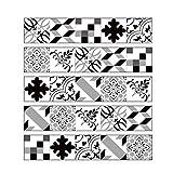 Geométrica del azulejo Negro pared blanca pegatinas despegar y pegar Entrepaños de cocina Muebles de escalera pegatinas etiquetas de DIY Decoración, 7.9''W X 39.4''L (juego de 5PCS),Grey01