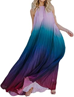 12a3670ab26 Cromoncent Womens Ombre Color Print Sexy Backless Halter Beach Pleated Maxi  Dress