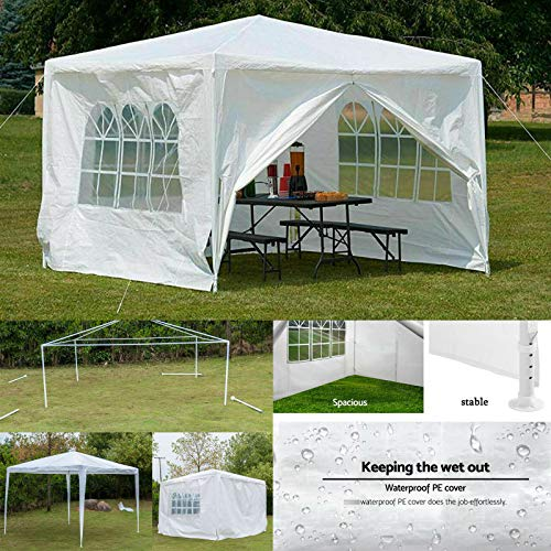 Lucn 3x3m Heavy Duty Waterproof Fully Canopy Shelter Replacement Gazebo Cover with 4 Side Panels, Fully Waterproof, Powder Coated Steel Frame for Outdoor - White