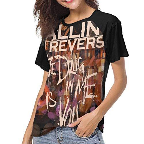 Kmehsv Damen Kurzarm T-Shirts mit Rundhalsausschnitt, Falling in Reverse Women Women's Baseball Short Sleeves Loose Short Sleeve Sport T Shirts