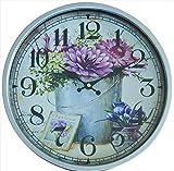Perla PD Design - Reloj de pared de metal lacado con esfera de cristal...