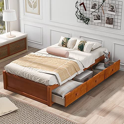 mattress cover for storages SOFTSEA Twin Storage Bed with 3 Drawers, Wood Platform Bed Frame with Storages for Bedroom Living Room, No Box Spring Needed (Oak)