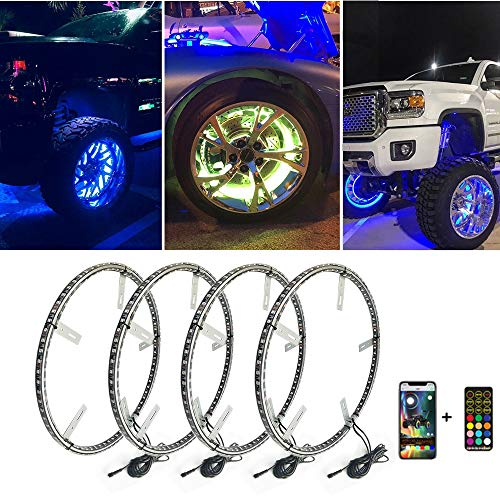 Beatto 15.5inch RGB LED Wheel Ring Light Kit w/Turn Signal and Braking Functionand Can Controlled by remote and app Simultaneously with Lock Function -4PCS (Double Side)